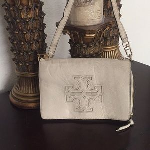 Tory Burch Cream Leather Crossbody Clutch